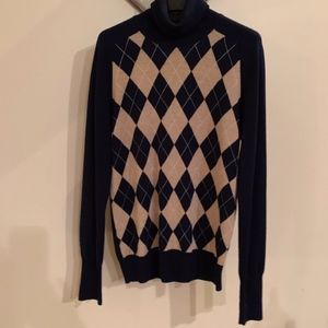 J.Crew Sweater Navy and Tan Argyle, Size M